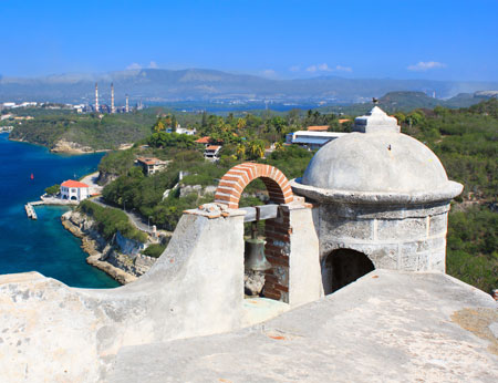View from Castillo de san pedro overlooking Santiago de Cuba