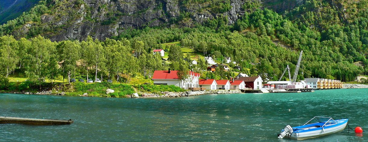 River side houses in Skjolden, Norway