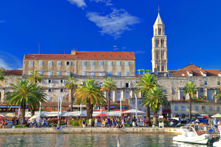 Venetian church tower and the palace of Diocletian, Split