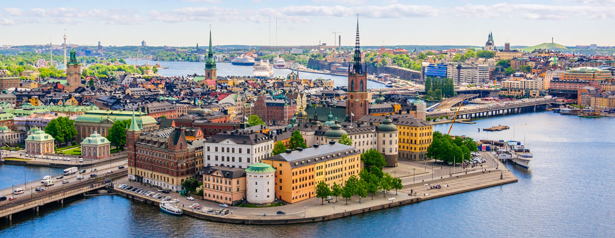 Aerial panorama from height of bird's flight on observation deck on tower City Hall to Gamla Stan (Old Town) Stockholm Sweden