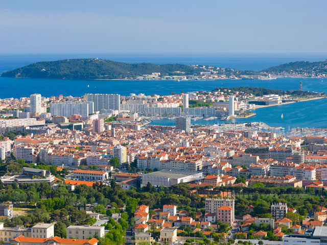 Cityscape of Toulon in a spring morning