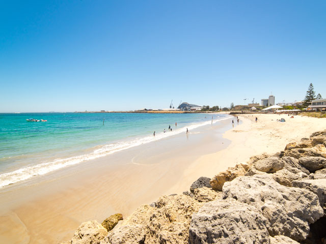 Beautiful sandy beach in Fremantle