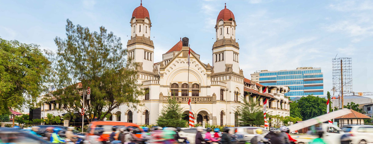 The colonial building Lawang Sewu Thousand Doors in Semarang Central Java Indonesia