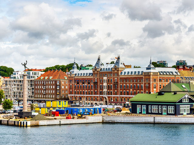 View of the city centre and the port of Helsingborg in Sweden