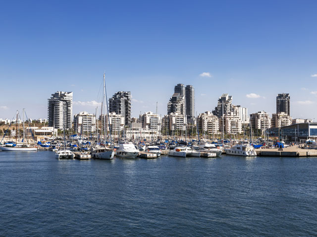 A view of the city of Ashdod from the Mediterranean sea Israel