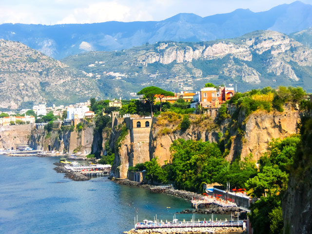 View of the coast in Sorrento Italy
