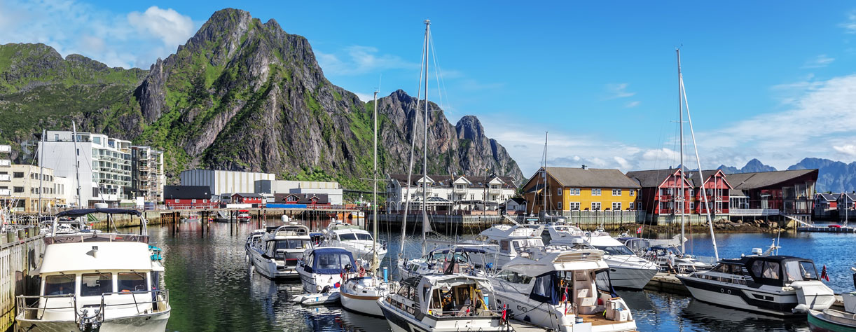 Scenic view of the waterfront harbor in Svolvaer