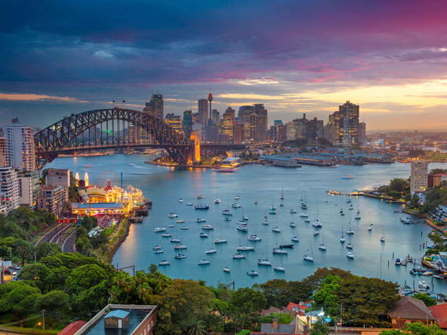 Cityscape of Sydney with Harbour Bridge