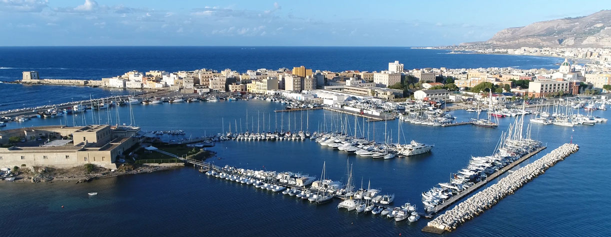 Aerial bird view photo of Trapani marina