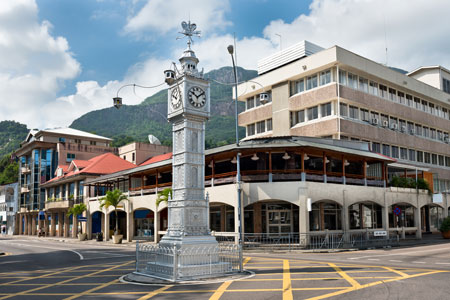 The clock tower of Victoria, also known as Big Ben, Seychelles