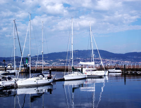 Yachts in the port of Vigo, Spain