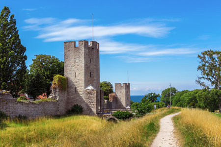 The defensive wall of Visby, Sweden