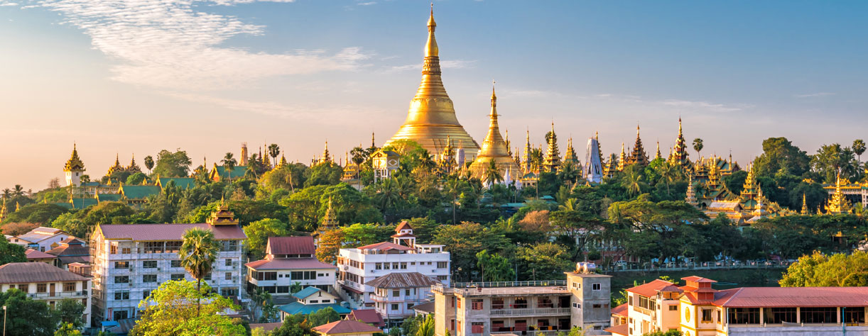 Yangon skyline with Shwedagon Pagoda in Myanmar