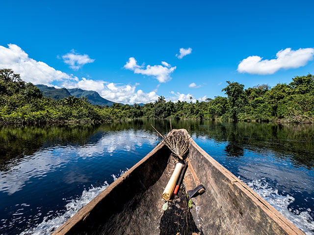 Sailing down the river amidst the Amazon jungle