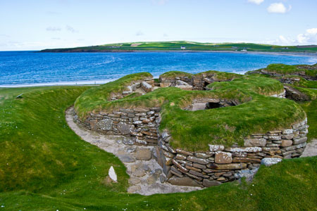 Stone age village Skara Brae on Orkney Islands