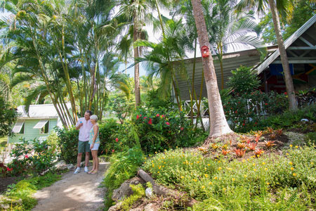 Couple exploring tropical gardens in Barbados