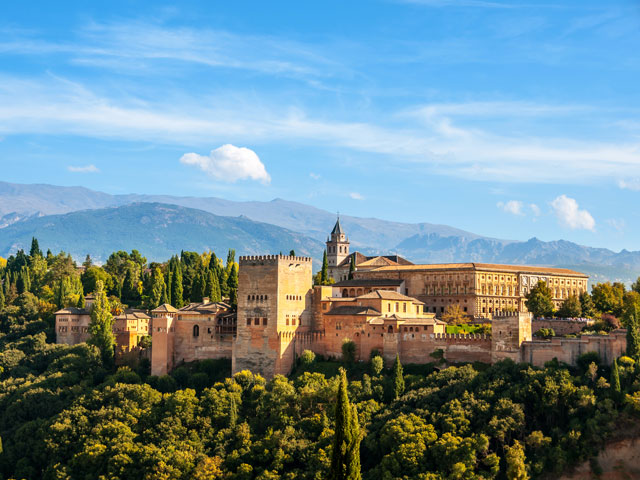 Aerial view of Alhambra Palace in Spain