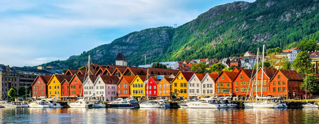 View of historical buildings in Bryggen, Norway