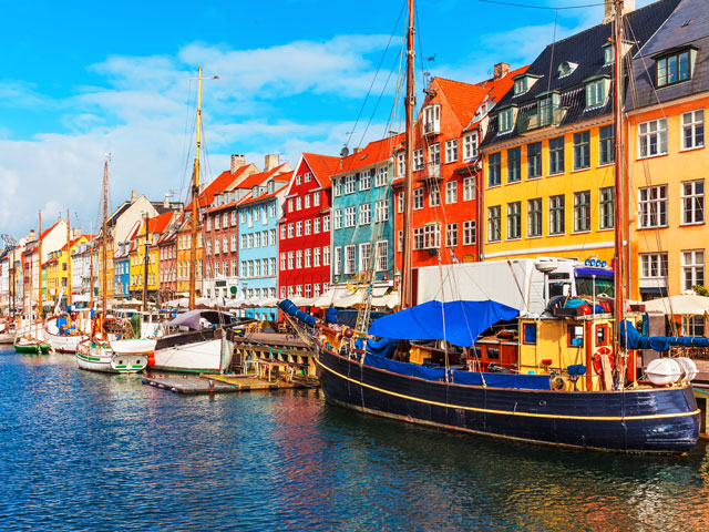 Nyhavn district - famous landmark in Copenhagen in a summer day, Denmark