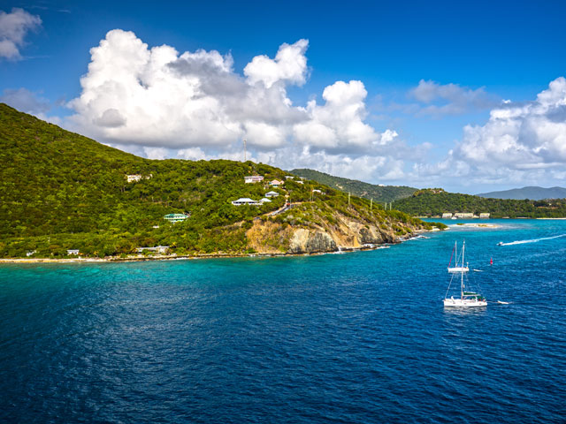 Coastline along a Road Town in Tortola, British Virgin Islands