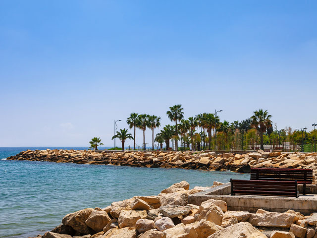 Coastline and promenade in Limassol, Cyprus