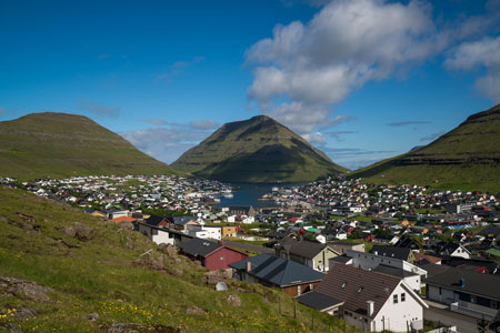 View of Klasvik village, Faroe Islands