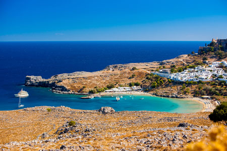 Beautiful view of Lindos Bay in Rhodes Island, Greece