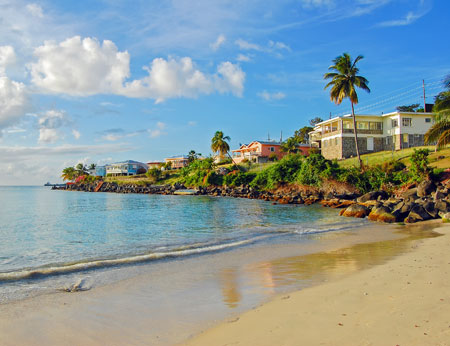View of Grand Anse beach on Grenada Island Caribbean region of Lesser Antilles