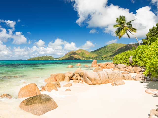 Sandy beach in The Seychelles