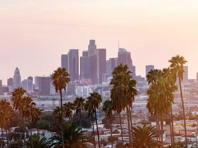 Los Angeles skyline at sunset, USA