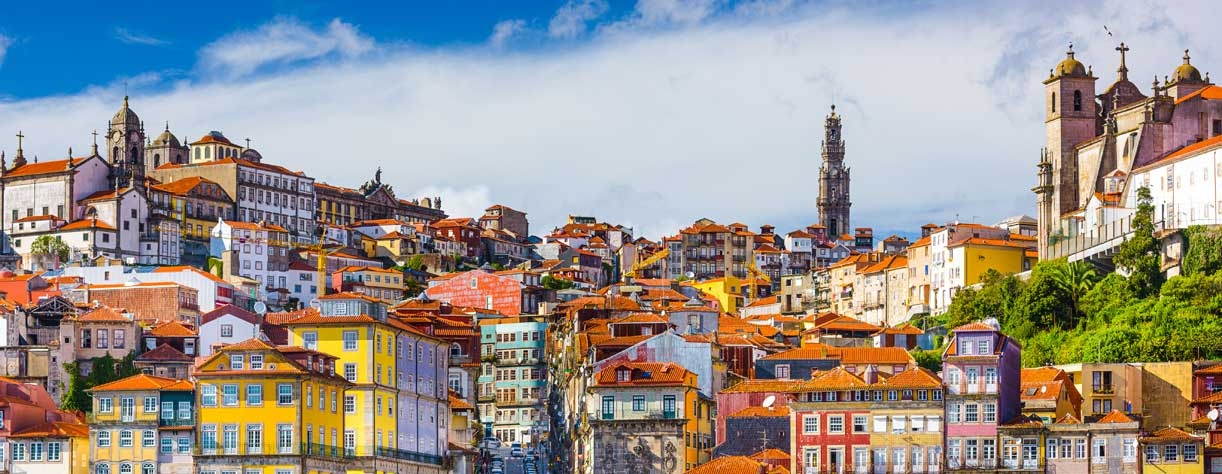 Oporto Old Town skyline from across the Douro River - Portugal