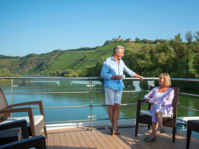 Couple on board Brabant, cruising the Middle Moselle Valley