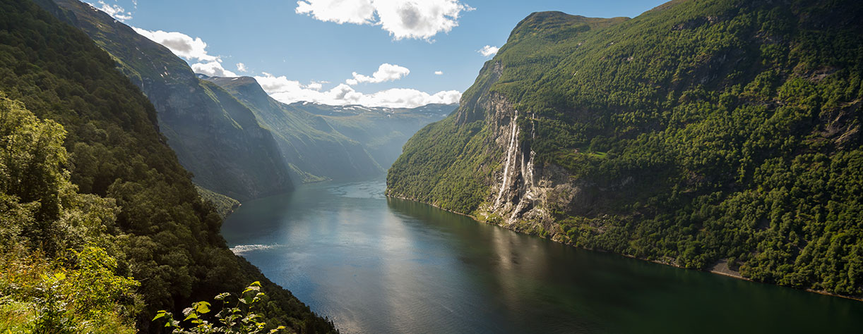 View of the Seven sisters waterfall, Norway