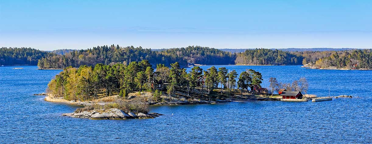 Dwellings islands on Stockholm Archipelago, Sweden