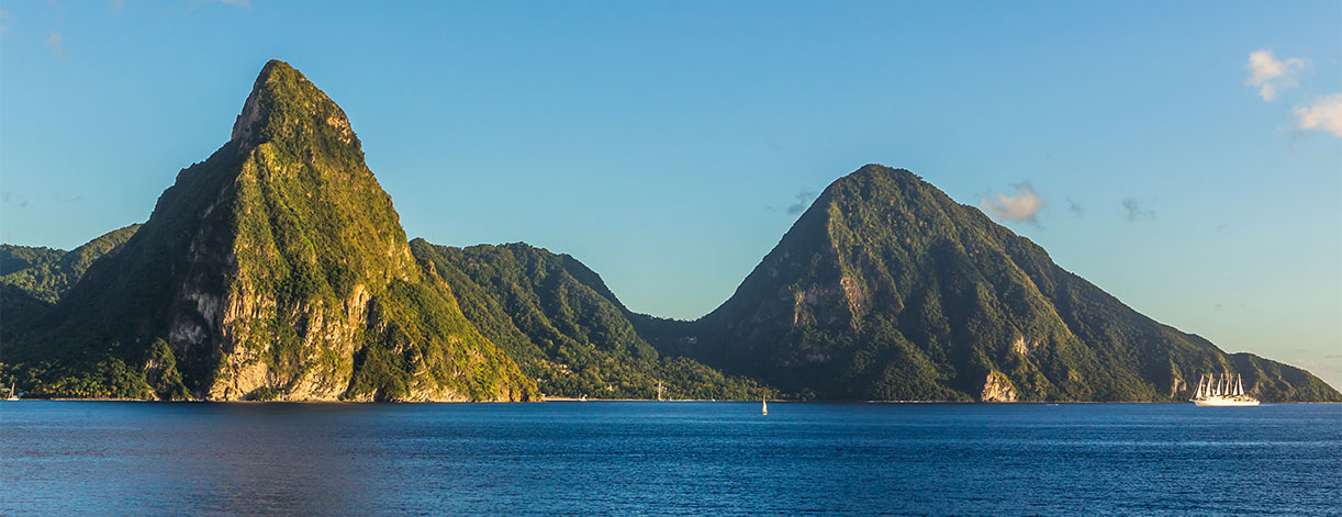 Pitons in St Lucia - seen from a cruise ship