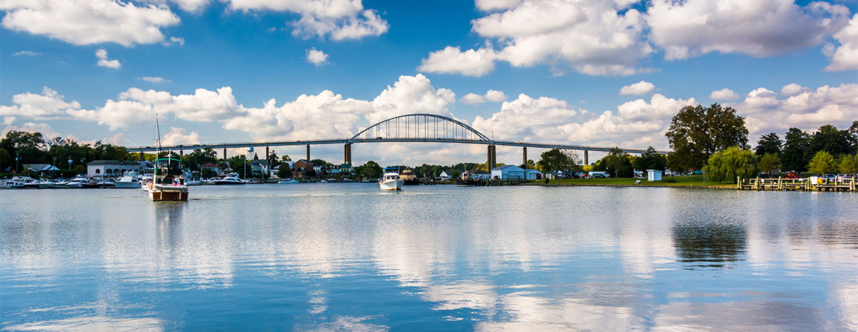 The Chesapeake City Bridge over the Chesapeake and Delaware Canal,