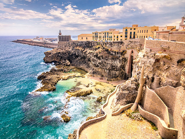 City walls, lighthouse and harbor in Melilla, Spanish province in Morocco