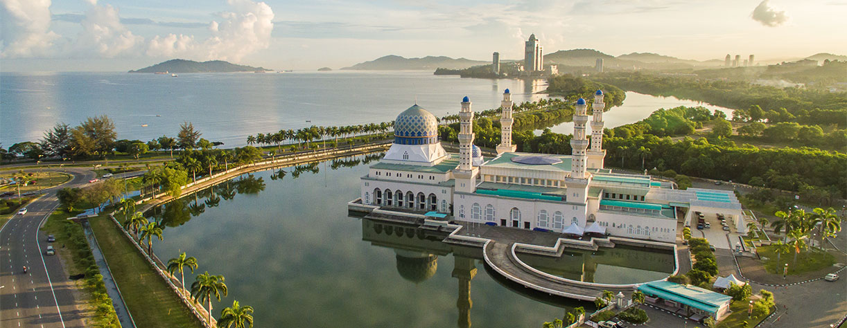 Aerial view of Kota Kinabalu City Floating Mosque, Sabah Borneo East Malaysia