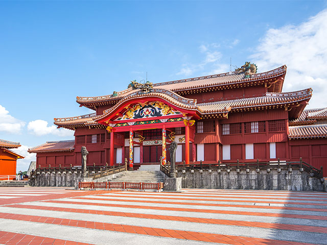 Shuri castle in Naha, Japan.
