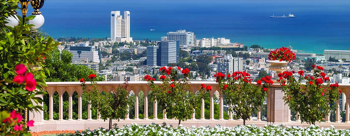 Panoramic view of Haifa, Israel, from the Bahai Temple Garden