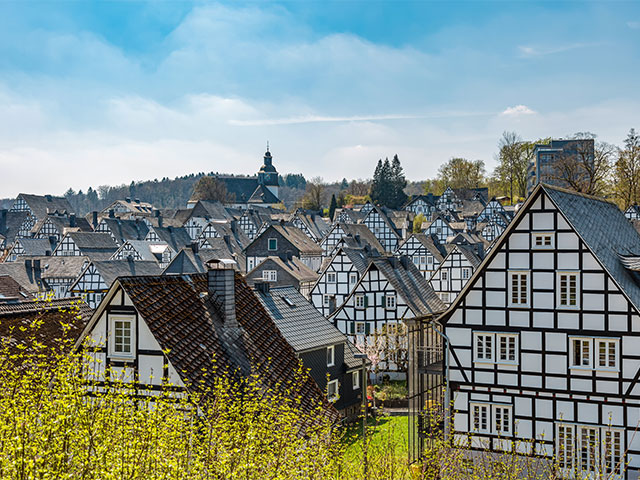 Historic half-timbered houses in the old town of Freudenberg, Germany
