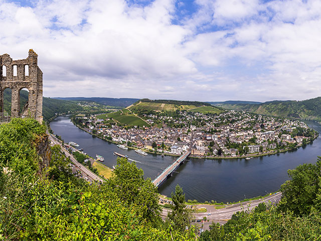 View of the Moselle River in Traban Trabach, Germany