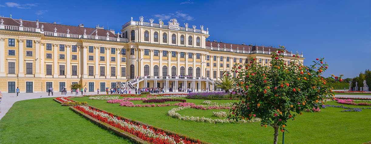 Beautiful view of famous Schönbrunn Palace with Great Parterre garden in Vienna, Austria