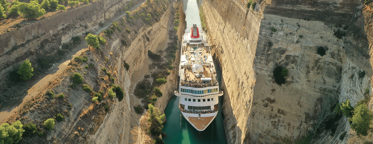 Braemar transitting the Corinth Canal