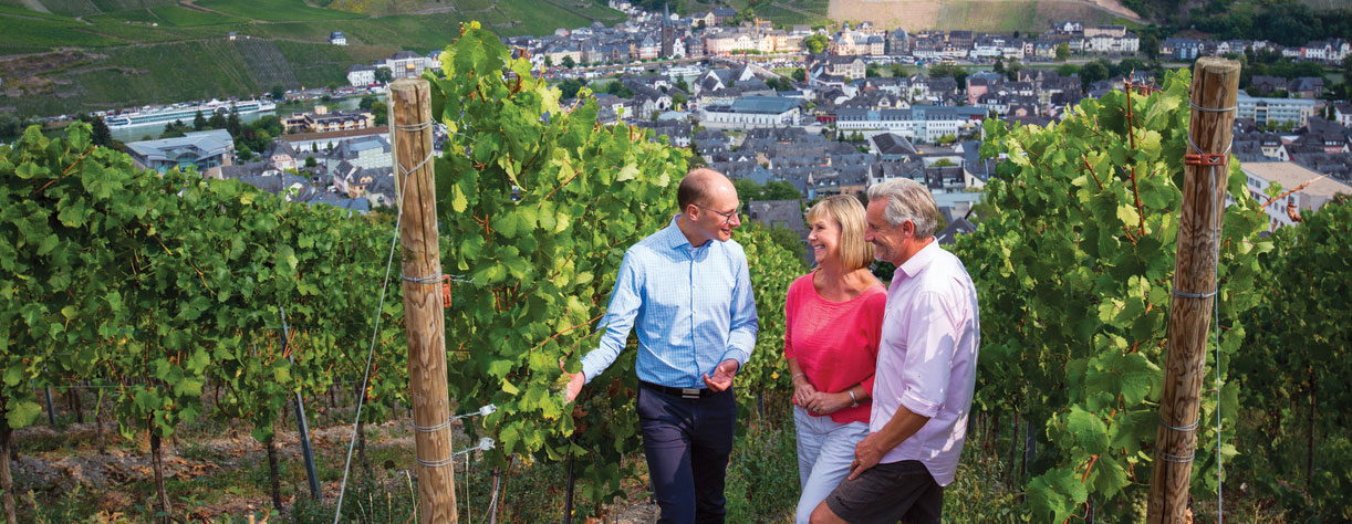Guests on tour at the Vineyards in Bernkastel-Kues, Germany