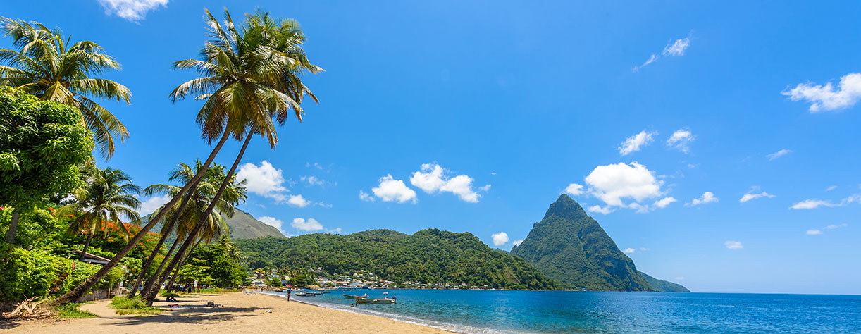 The Pitons, mountainous volcanic plugs, in St Lucia