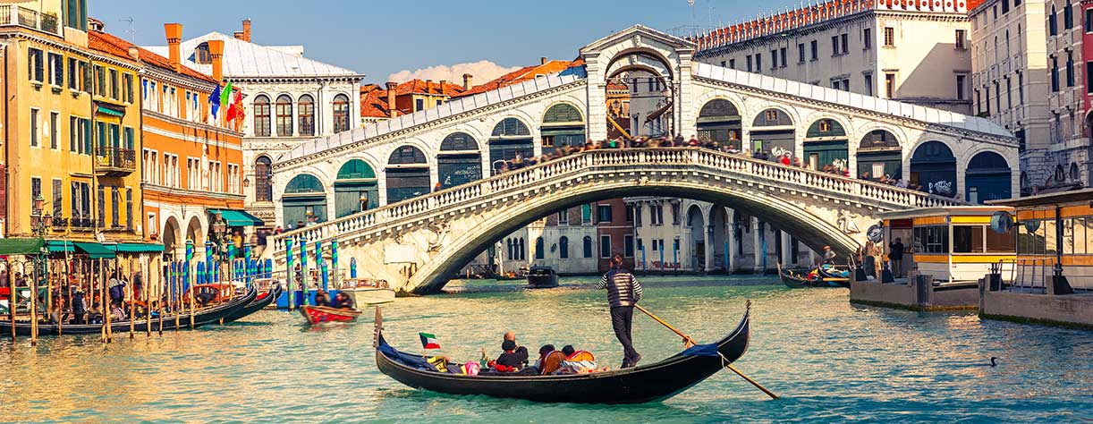 Iconic Gondalas and bridge in Venice