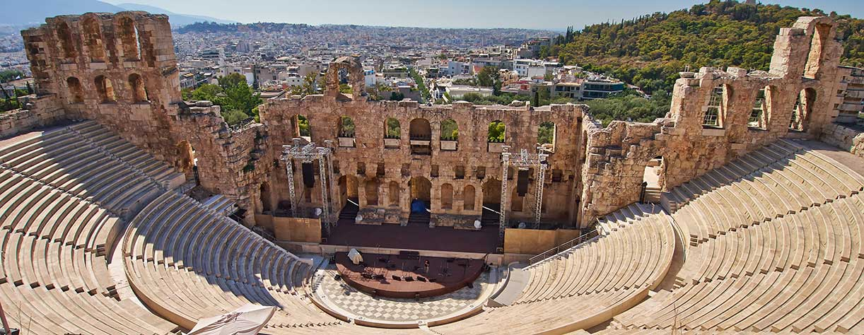 Ancient theater under Acropolis of Athens, Greece