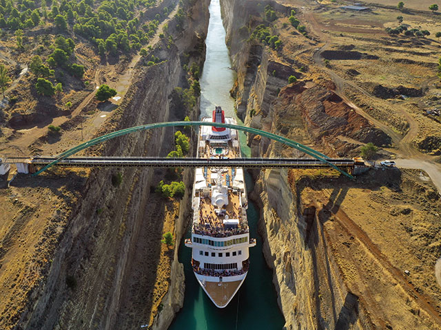 Braemar passing through the record breaking Corinth canal