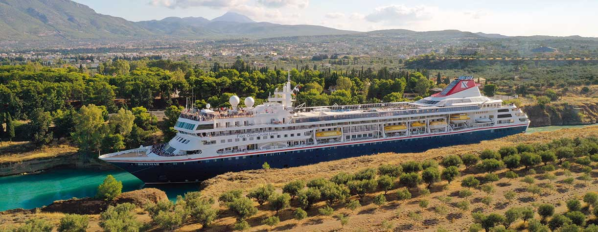 Braemar going through the Corinth canal, Greece